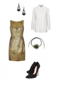 Darling Dress; TopShop White Shirt; Soru Onyx Cord Tie Bracelet; TopShop Haemetite Bead Earrings