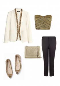 H&M White Tux Jkt with gold trim; Reiss Gold Bandeau Top; Whistles Tuxedo Trousers; 3.1 Phillip Lim Gold handbag; Boden Jewelled Pumps