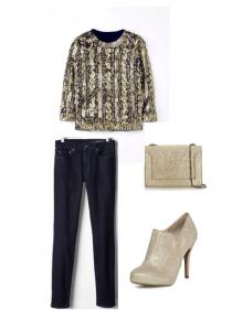 Boden embellished jumper, 3.1 Phillip Lim Gold Handbag, Dorothy Perkins Gold Shoe Boot, Gap Real Straight Dark Jeans