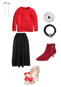 Folli Follie Earrings; Nikki Lissoni Coin and bracelet carrier, M&S Red Boots;  Kurt Geiger Heels;  Whistles Cecil Sequin Skirt; H&M Red Jumper