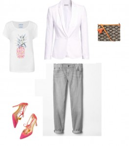 T-Shirt, M&S Indigo; Jacket, H&M; Girlfriend Jeans, Gap; Pom Pom Clutch, Hush; Alice Heels, Boden