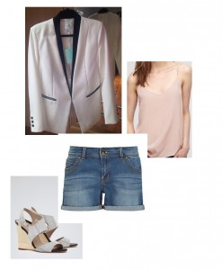 BBQ Time - Jacket, Jovonna (Lulu's Boutique L.Spa); Nude Cami, Jigsaw;  Shorts, Kady Authentic Wash, Oasis; Colbert Wedges, Reiss.