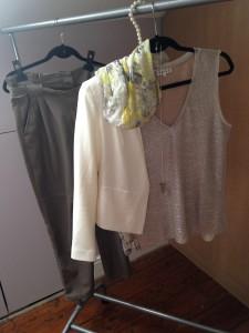 Faux Leather Trousers, Zara; Blazer Jacket, Top Shop; Scarf, LK Benett