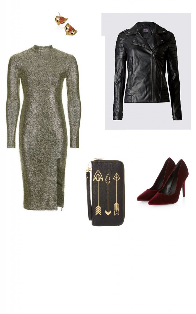 Dress, Topshop £39; Biker Jacket, M&S £55; Earrings, Pia Jewellery £18; Velvet Heels, New Look £22.99; Wristlet Claire's £16