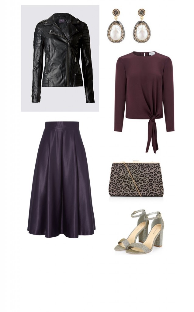 Skirt, Roman Originals £50; Tie Top, Jigsaw £98; Block Heel Shoes, New Look £22.99; Leopard Print Clutch, New Look £17.99; Earrings, Soru from Fabulous £160; Jacket M&S as before