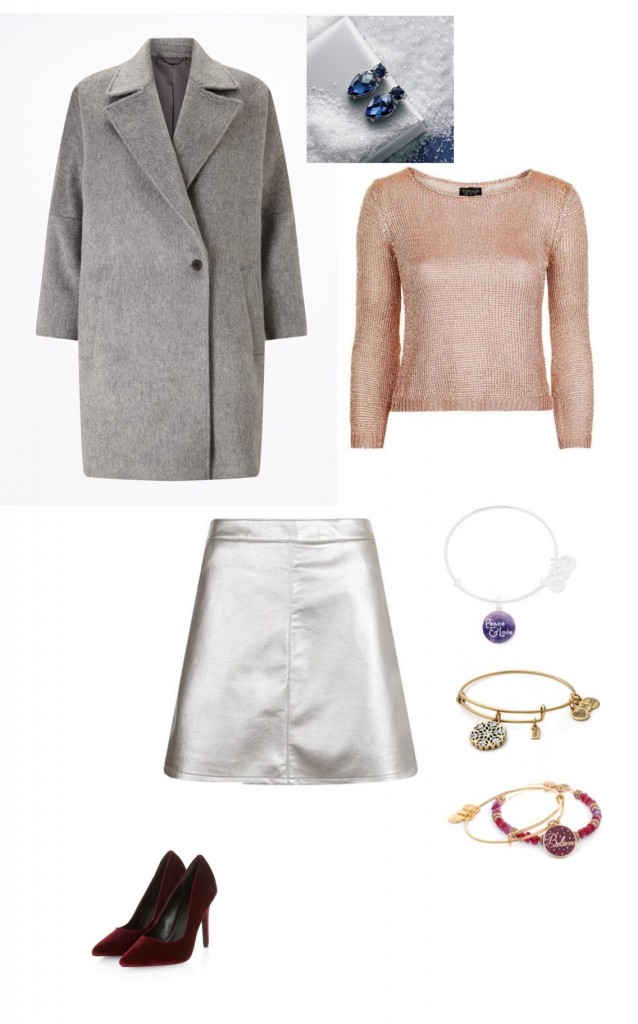 Coat, Jigsaw £298; Metal Yarn Jumper, Topshop £42; Metallic Skirt, New Look £14.99; Alex & Ani Bangles, Fabulous Collections from £24; Velvet Heels as before