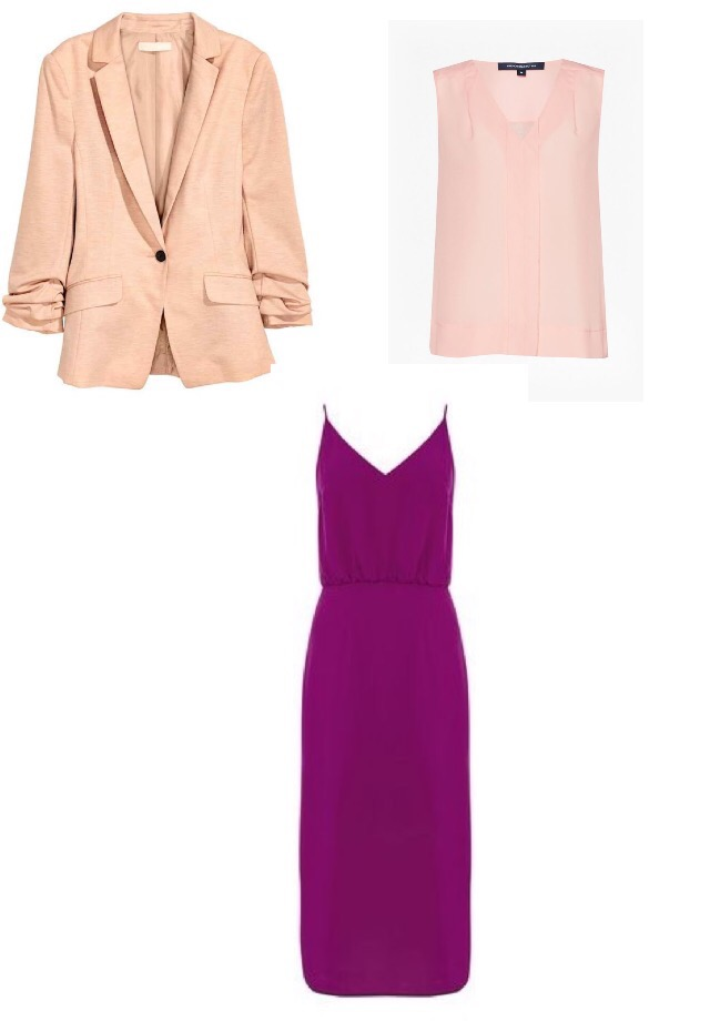 Blazer, H&M; Shell Top, French Connection; Dress, Oasis.