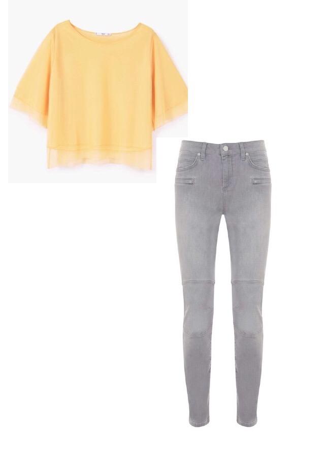 Tulle T Shirt, Mango; Maine Biker Jean, Mint Velvet.